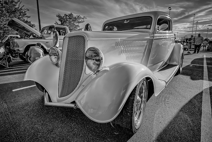 Yellow Sedan by Ron Meyers - Black & White Objects & Still Life ( tulsa auto club 7-1-2014 )