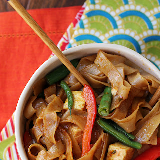 Drunken Noodles with Tofu and Peppers.