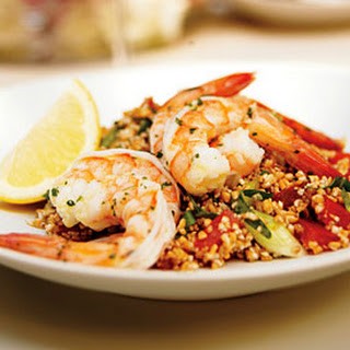 Mint-Marinated Shrimp with Tabbouleh, Tomatoes, and Feta.