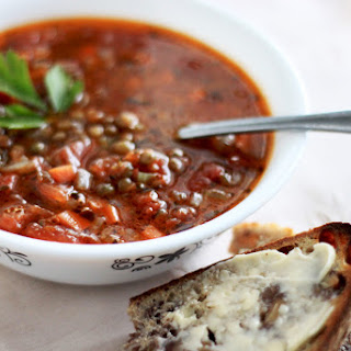 French Lentil Soup With Tomatoes, Tarragon And Garlic