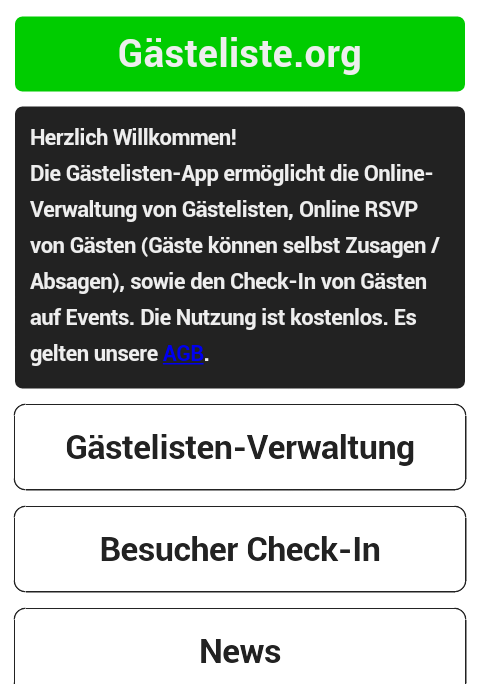Gästeliste.org- screenshot