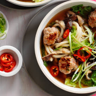Spicy Pork Meatball And Noodle Soup.