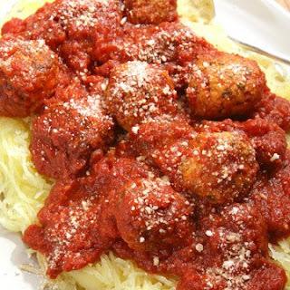 Spaghetti Squash with Turkey Meatballs.