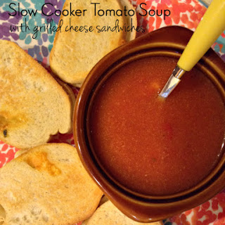 Slow Cooker Tomato Soup & Grilled Cheese Sandwiches