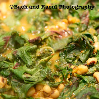 Amaranth Greens with Black Eyed Peas.