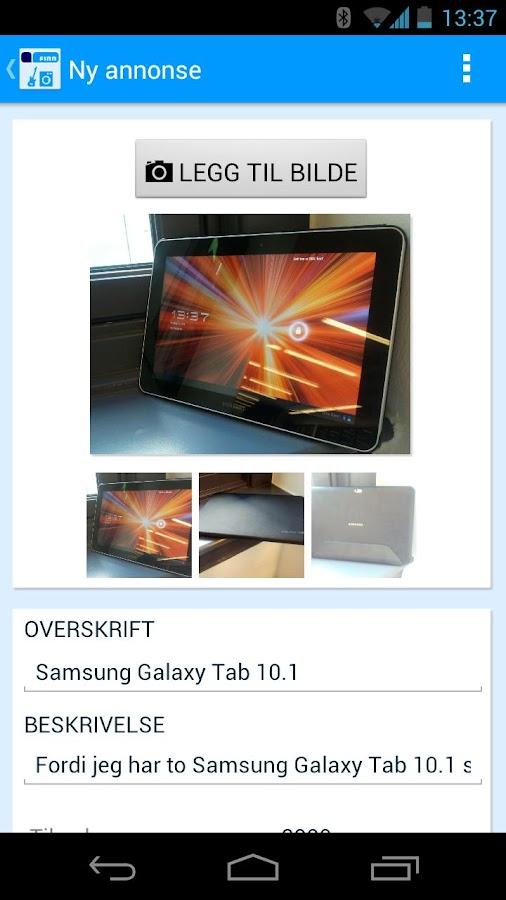 FINN torget annonseinnlegging - screenshot