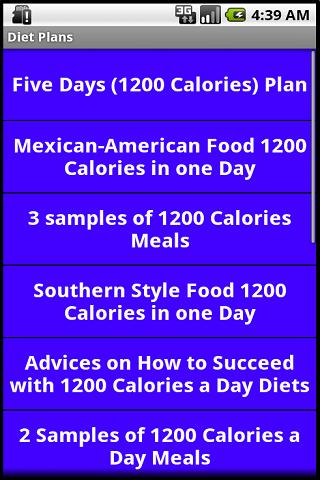 1200 and 1500 Calories Diets - screenshot