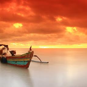 Fishing Boats by Edwin Yepese - Transportation Boats ( sunsets & sunrise, background, landscape )