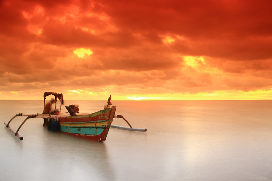 Fishing Boats by Edwin Yepese - Transportation Boats ( sunsets & sunrise, background, landscape )