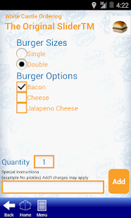 White Castle Ordering - screenshot thumbnail