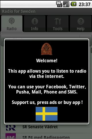 Radio for Sweden (free app)- screenshot