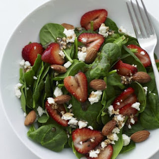 Strawberry Salad with Goat Cheese and Pecans.