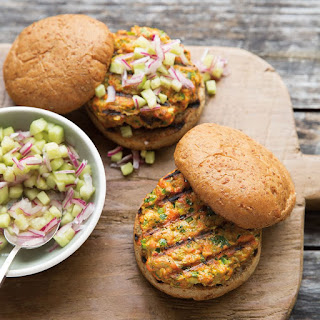 Salmon Satay Burgers with Cucumber-Onion Relish