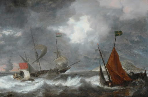 Sea storm with sailing ships