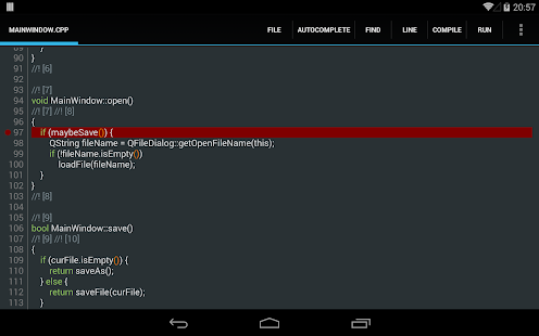 C4droid - C/C++ compiler & IDE Screenshot