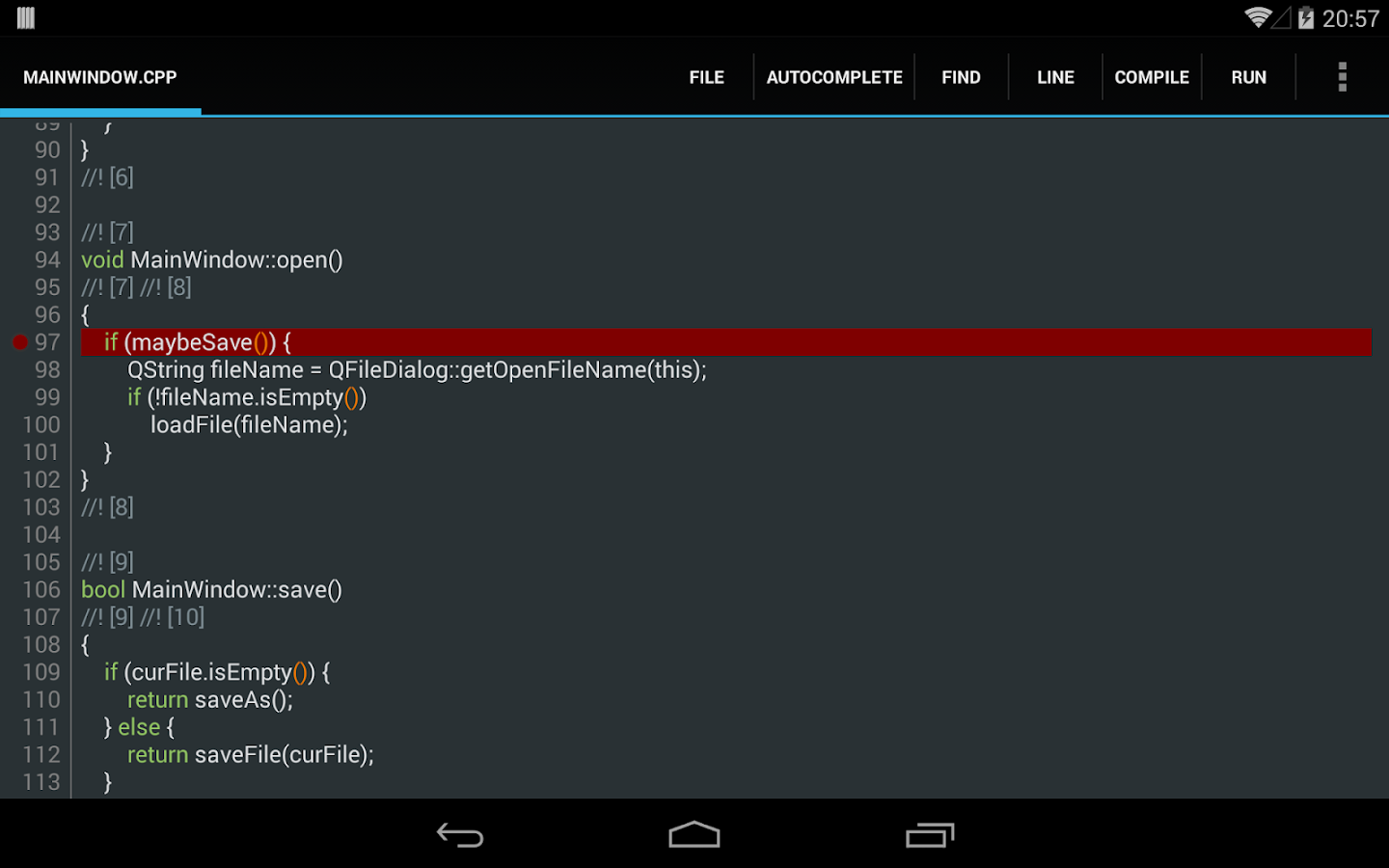 C4droid - C/C++ compiler & IDE- screenshot