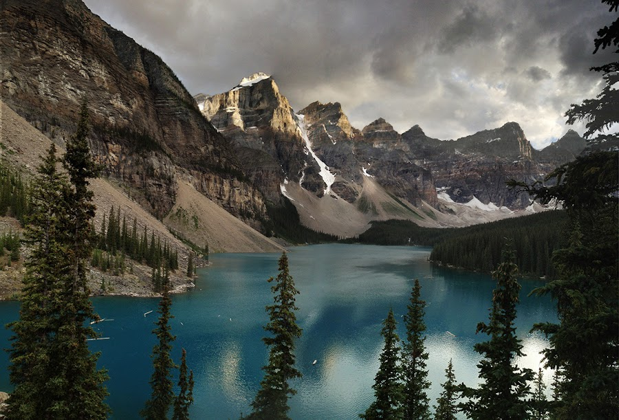 Moraine Lake, BC, Canada by David Bishop - Instagram & Mobile iPhone ( mountains, sunset, lake, storm clouds, iphone,  )