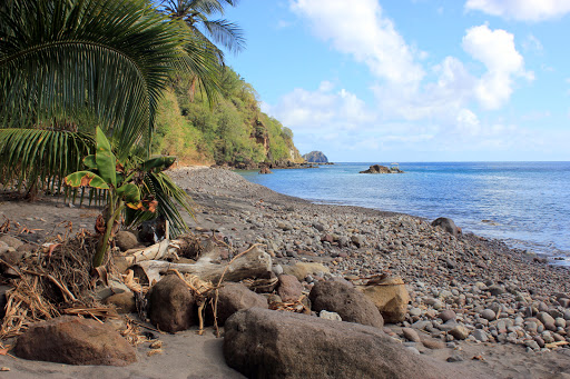 Champagne Beach, a great area for snorkeling or diving in Dominica.