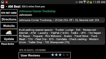 Screenshot of Truck Stops and Travel Plazas