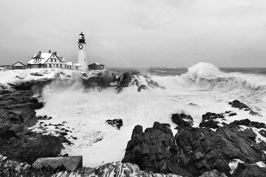 Maine Nor'easter by Melissa Brookmire - Black & White Landscapes ( fort williams park, nor'easter, atlantic ocean, portland head lighthouse, maine, black and white, lighthouses, waves, storms, rough seas,  )