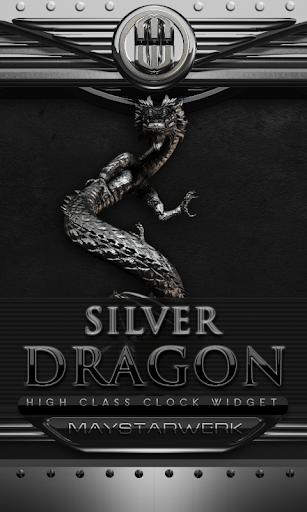 ドラゴン時計ウィジェット シルバー