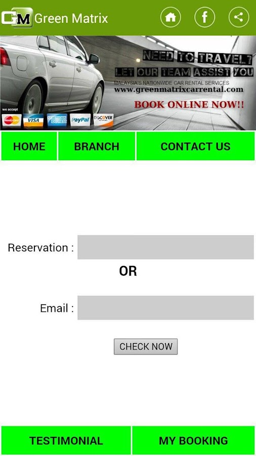 Green Matrix Car Rental- screenshot