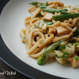 Udon Noodles with Asian Vegetables and Peanut Sauce.