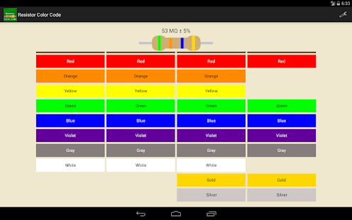 Resistor Color Code screenshot