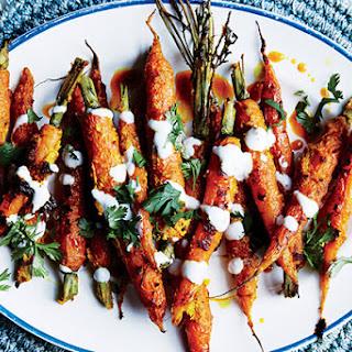 """Tandoori"" Carrots with Vadouvan Spice and Yogurt."