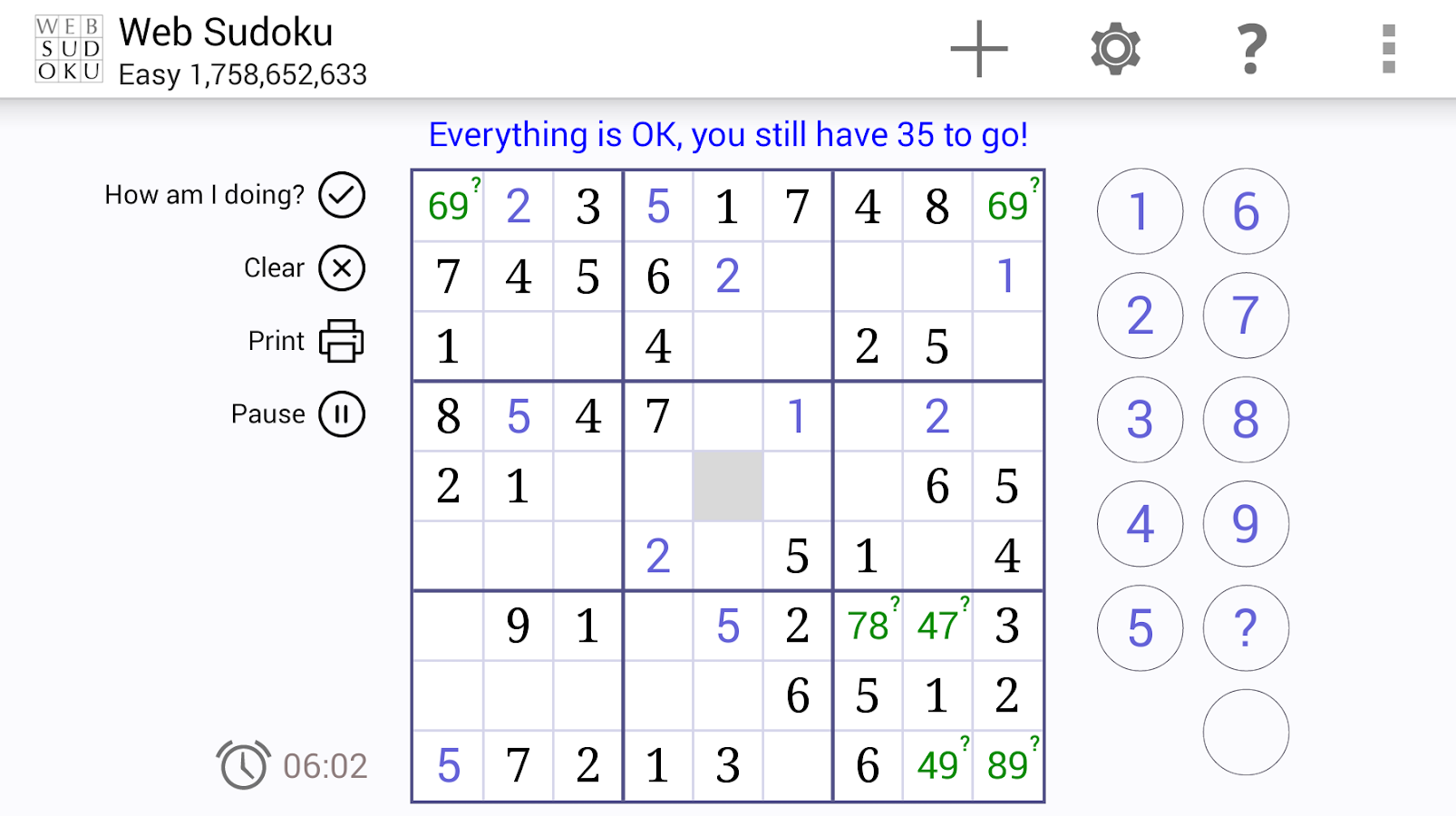 Web Sudoku- screenshot