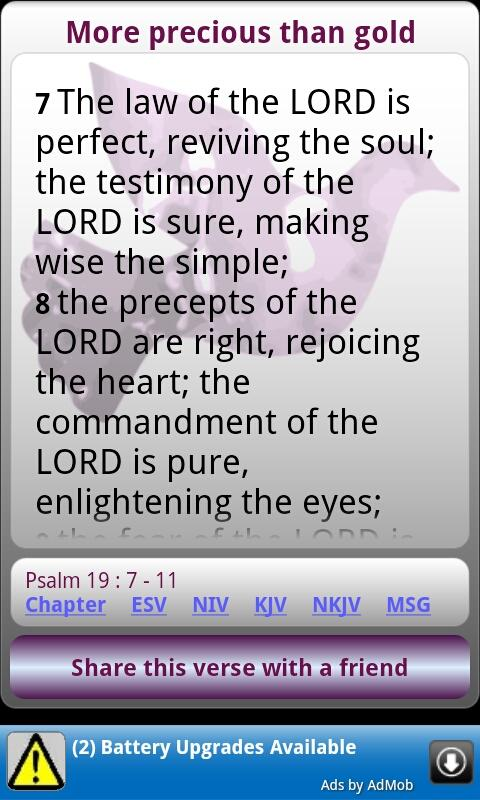 Uplifting Psalms Daily Bible - screenshot