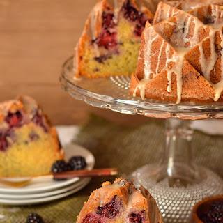 Honey Glazed Blackberry Cornmeal Bundt Cake