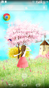 櫻花樹下可愛女孩動態壁紙