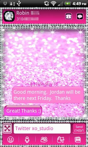 GO SMS THEME Cute Pink Diamond