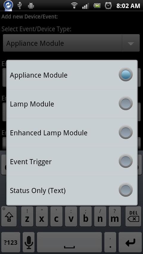 DroidSeer X10 Home Automation - screenshot