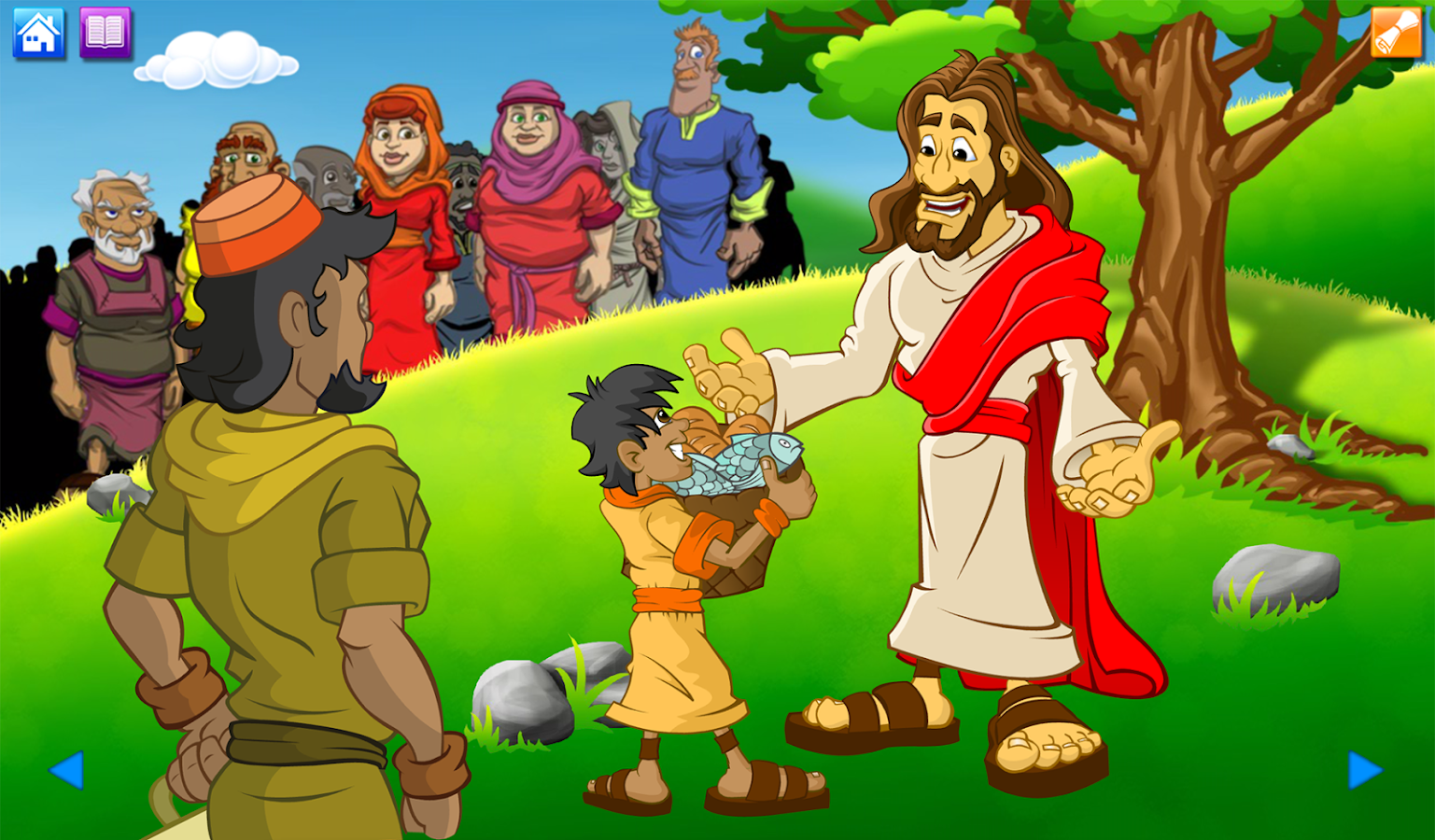 The gallery for kid playing video games cartoon for Loaves and fishes bible story