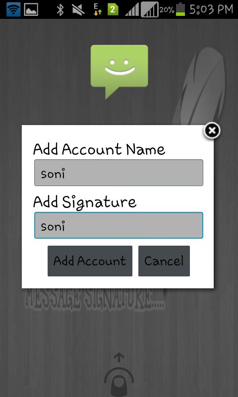 Message Signature- screenshot