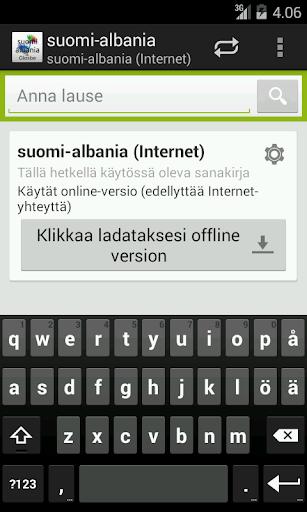 Suomi-Albania Sanakirja