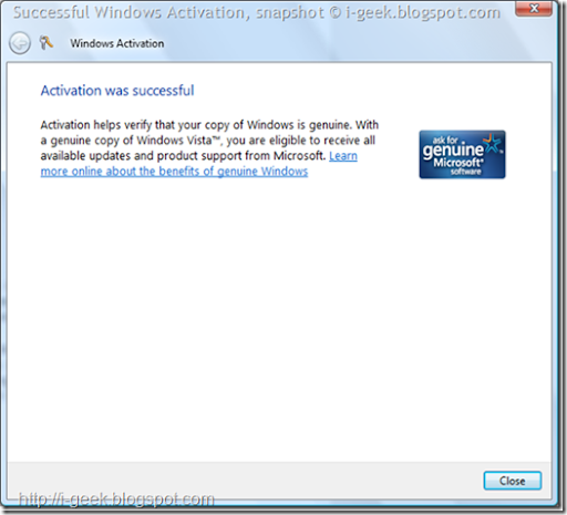 Successful Windows Activation Wizard