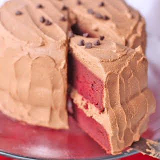 Vegan Red Velvet Cake with Chocolate Mousse Frosting.