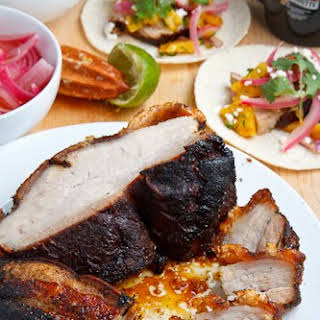 Coffee Rubbed Roasted Pork Belly Tacos.