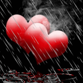 Rain On Red Hearts Live Wallpa