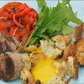 Hog's Pudding With Fried Eggs, Torn Bread And Tomato Salsa