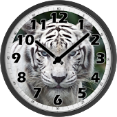 White Tiger Analog Clock