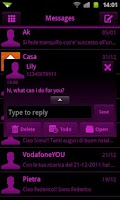 Screenshot of GO SMS Pink Black Neon Theme