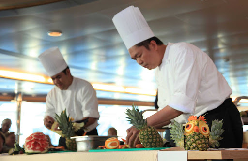 Greenland-Disko-Bay-chefs - Enjoy fresh, healthy produce on your cruise around Greenland with expedition cruise line Hurtigruten.