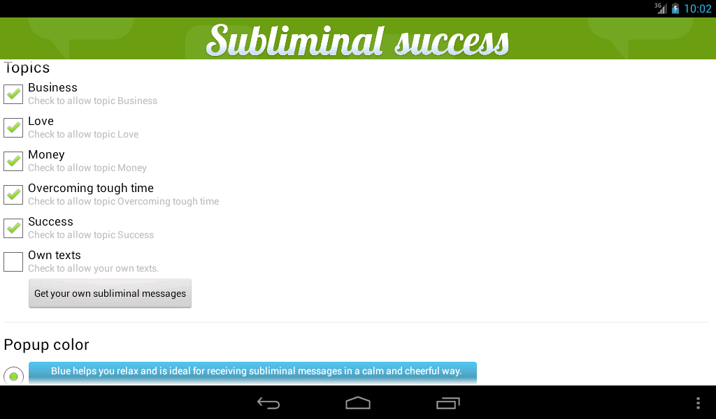 Subliminal Success- screenshot