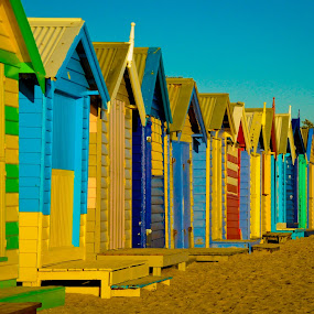 Beach huts in Australia by Desiree DeLeeuw - Buildings & Architecture Other Exteriors ( colorful, beach huts, australia, travel, landscape, mood factory, vibrant, happiness, January, moods, emotions, inspiration )