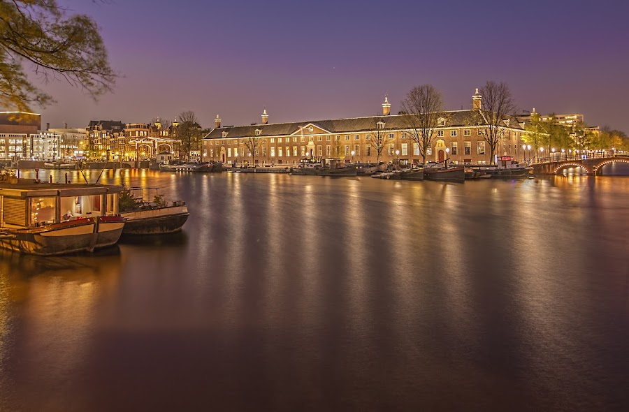 The Hermitage Amsterdam by Night by Marcel de Groot - Buildings & Architecture Public & Historical ( purple, night, amsterdam, yellow, hermitage, amstel, color,  )