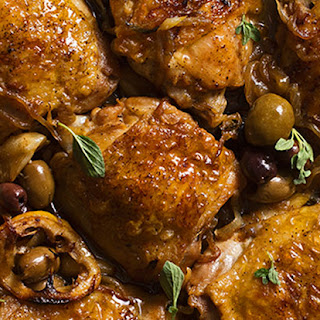 Braised Chicken Thighs with Garlic, Lemon and Greek Olives.